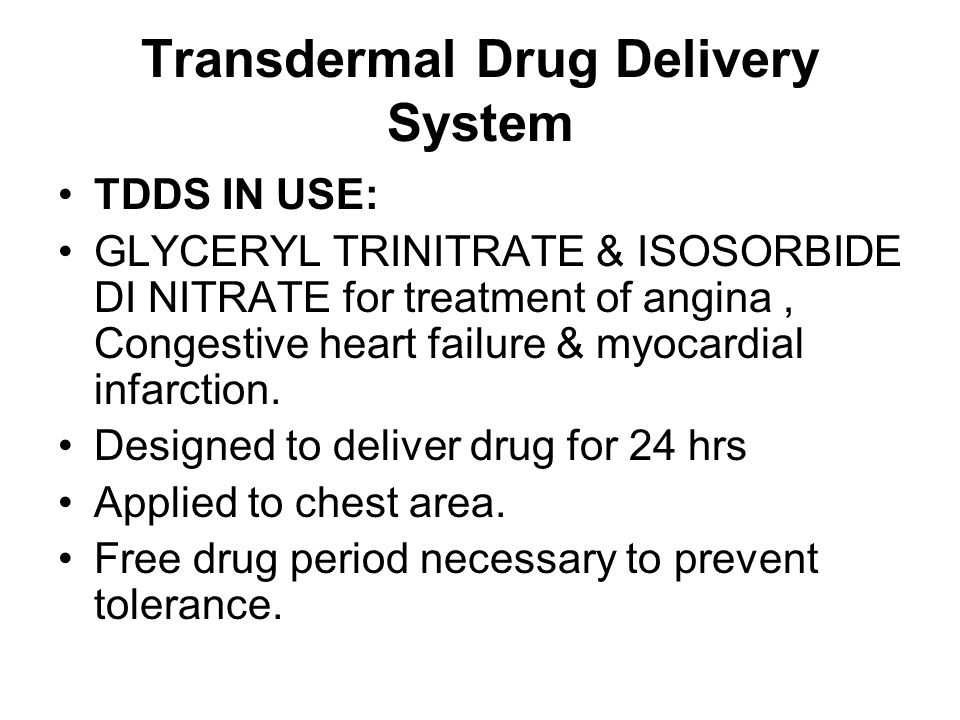 Transdermal Drug Delivery System TDDS IN USE: GLYCERYL TRINITRATE & ISOSORBIDE DI NITRATE for treatment of angina, Congestive heart failure & myocardi