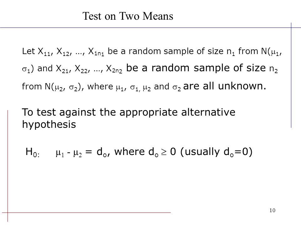 10 Let X 11, X 12, …, X 1n 1 be a random sample of size n 1 from N( 1, 1 ) and X 21, X 22, …, X 2n 2 be a random sample of size n 2 from N( 2, 2 ), wh