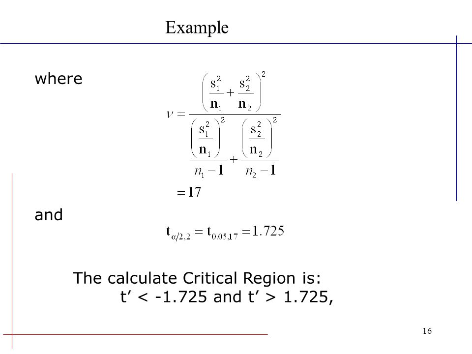 16 where and Example The calculate Critical Region is: t 1.725,