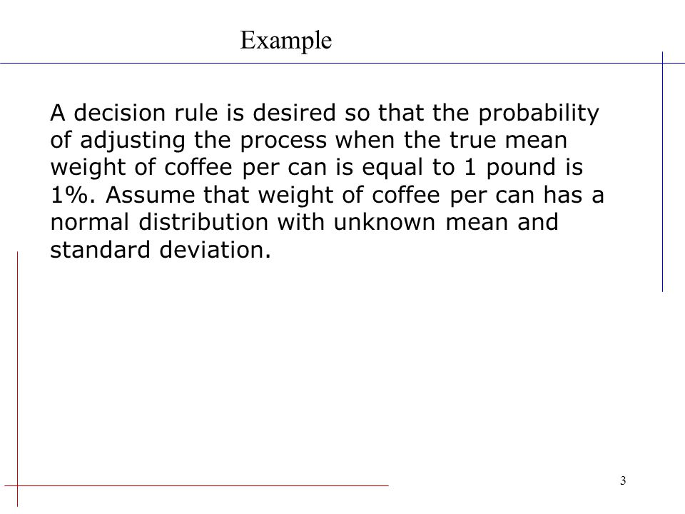 3 A decision rule is desired so that the probability of adjusting the process when the true mean weight of coffee per can is equal to 1 pound is 1%. A