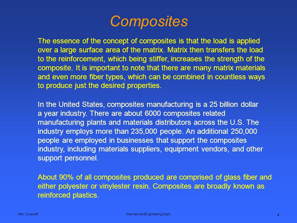 Ken YoussefiMechanical Engineering Dept. 4 Composites The essence of the concept of composites is that the load is applied over a large surface area o