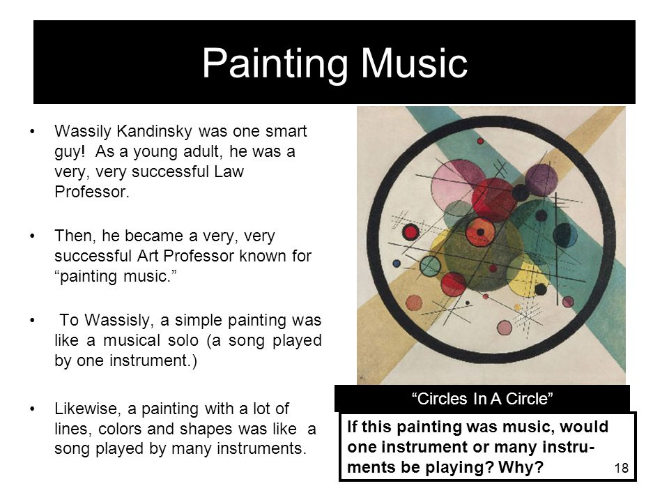Vassily Wassily Kandinsky was born in Odessa, Russia a very long time ago. (About the time your great grandparents were alive!) People from Russia say