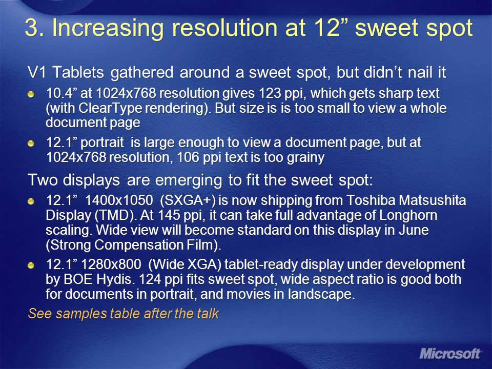 3. Increasing resolution at 12 sweet spot V1 Tablets gathered around a sweet spot, but didnt nail it 10.4 at 1024x768 resolution gives 123 ppi, which