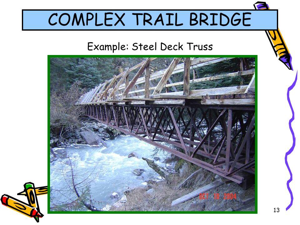 13 Example: Steel Deck Truss COMPLEX TRAIL BRIDGE