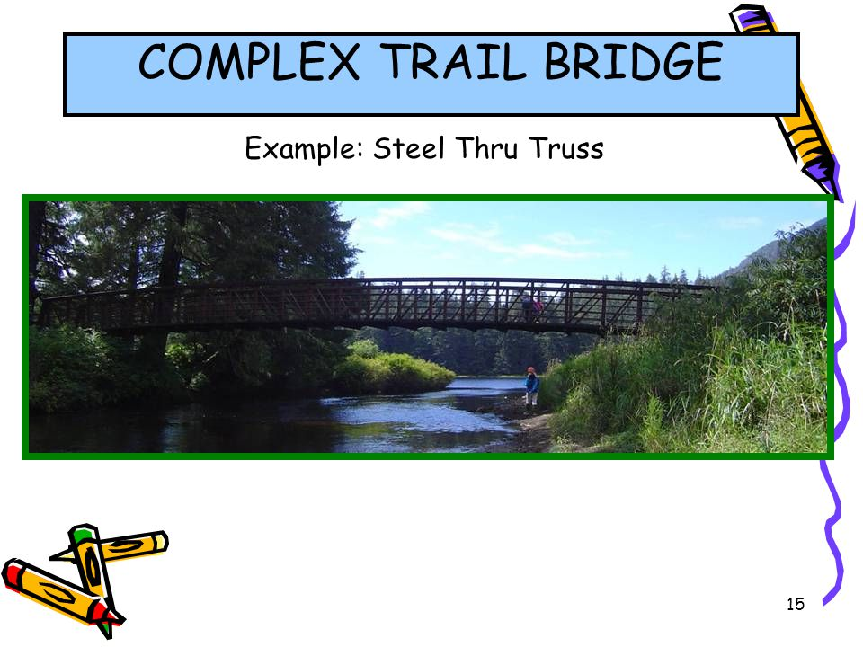 15 Example: Steel Thru Truss COMPLEX TRAIL BRIDGE