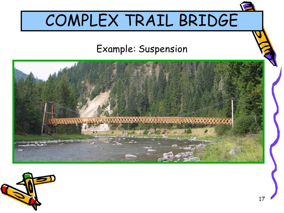 17 Example: Suspension COMPLEX TRAIL BRIDGE