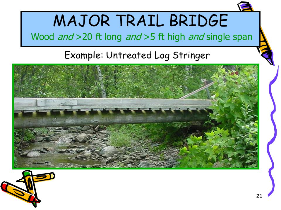 21 MAJOR TRAIL BRIDGE Wood and >20 ft long and >5 ft high and single span Example: Untreated Log Stringer