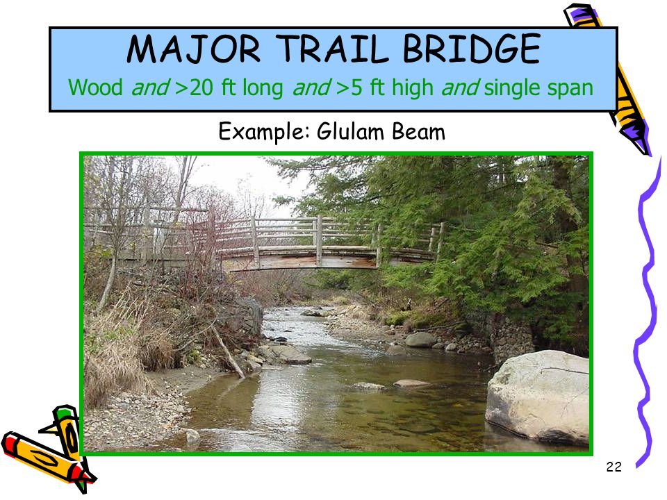 22 MAJOR TRAIL BRIDGE Wood and >20 ft long and >5 ft high and single span Example: Glulam Beam