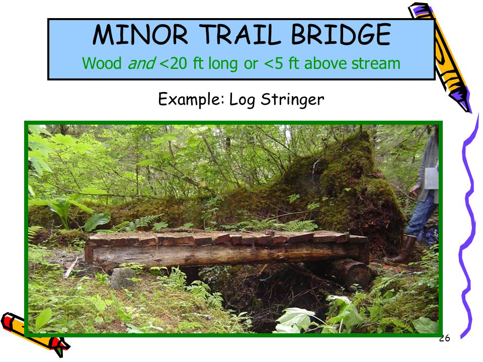 26 MINOR TRAIL BRIDGE Wood and <20 ft long or <5 ft above stream Example: Log Stringer