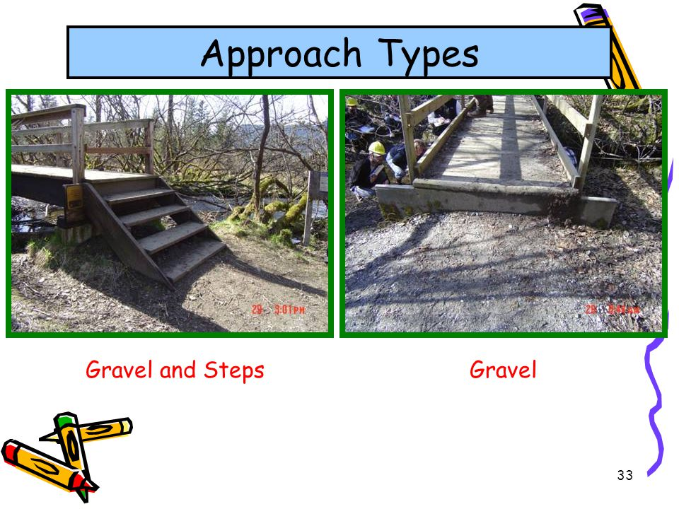33 Approach Types Gravel and StepsGravel