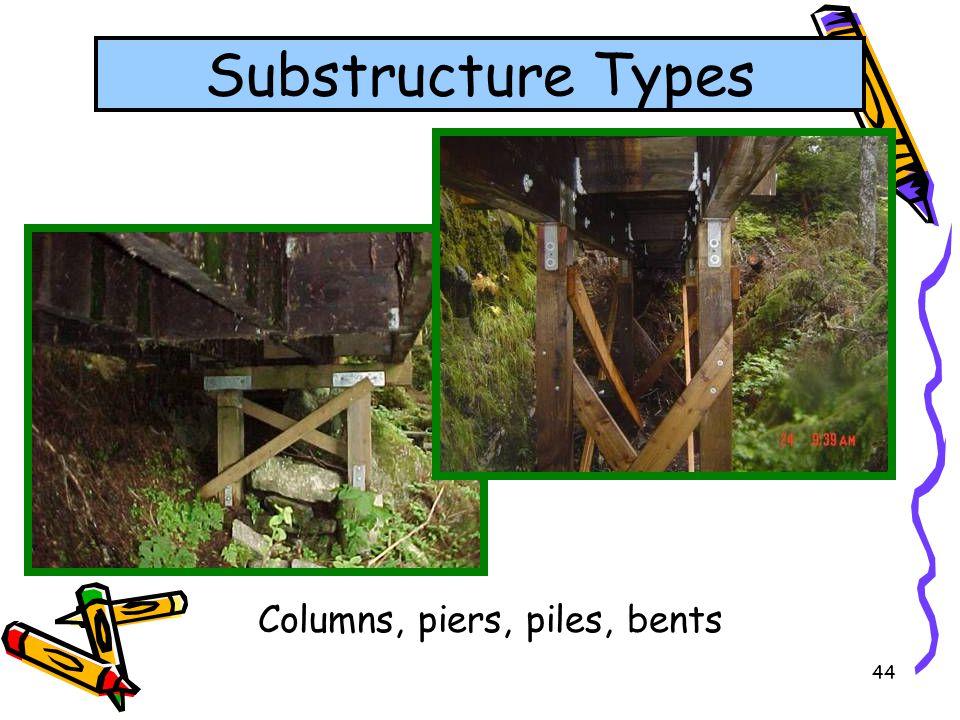 44 Columns, piers, piles, bents Substructure Types
