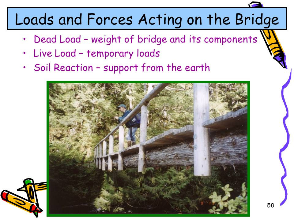 58 Loads and Forces Acting on the Bridge Dead Load – weight of bridge and its components Live Load – temporary loads Soil Reaction – support from the