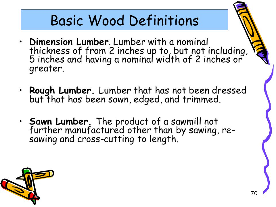 70 Basic Wood Definitions Dimension Lumber. Lumber with a nominal thickness of from 2 inches up to, but not including, 5 inches and having a nominal w