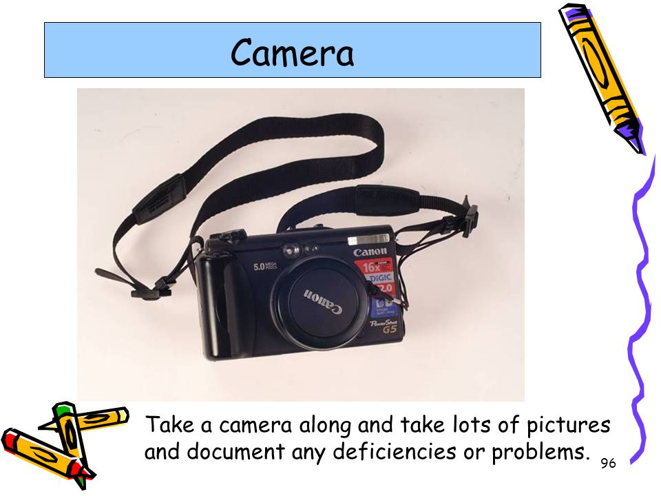 96 Camera Take a camera along and take lots of pictures and document any deficiencies or problems.