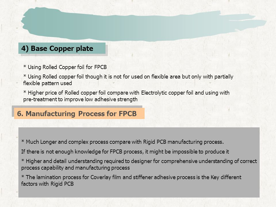 4) Base Copper plate * Using Rolled Copper foil for FPCB * Using Rolled copper foil though it is not for used on flexible area but only with partially