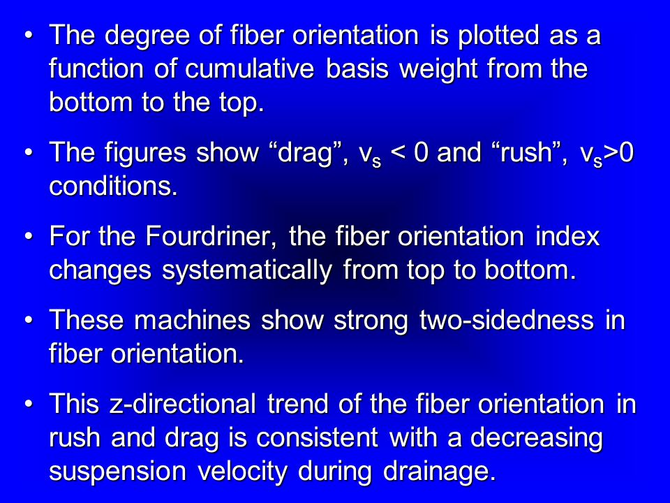 The degree of fiber orientation is plotted as a function of cumulative basis weight from the bottom to the top.The degree of fiber orientation is plotted as a function of cumulative basis weight from the bottom to the top.