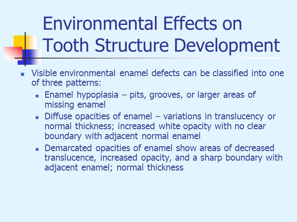 Visible environmental enamel defects can be classified into one of three patterns: Enamel hypoplasia – pits, grooves, or larger areas of missing ename