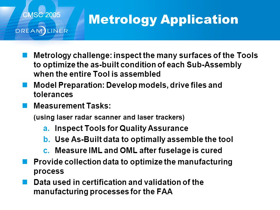 CMSC 2005 Metrology Application Metrology challenge: inspect the many surfaces of the Tools to optimize the as-built condition of each Sub-Assembly wh