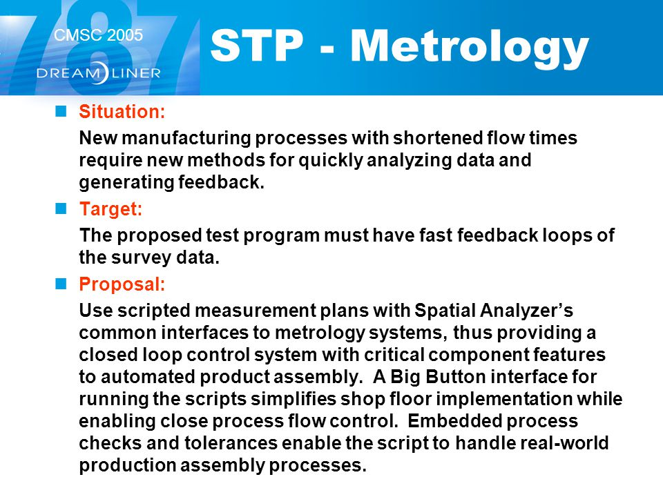 CMSC 2005 STP - Metrology Situation: New manufacturing processes with shortened flow times require new methods for quickly analyzing data and generati