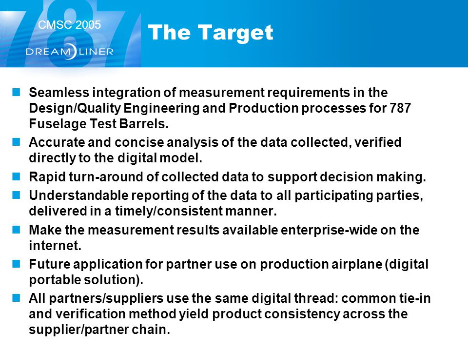 CMSC 2005 The Target Seamless integration of measurement requirements in the Design/Quality Engineering and Production processes for 787 Fuselage Test