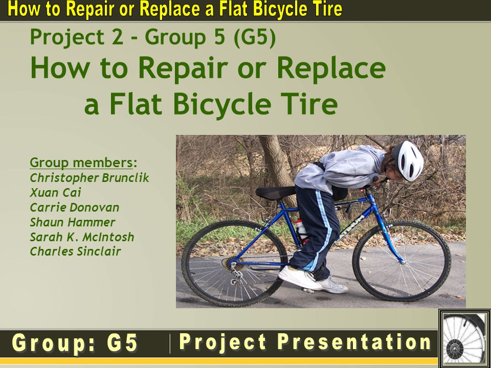 Project 2 - Group 5 (G5) How to Repair or Replace a Flat Bicycle Tire Group members: Christopher Brunclik Xuan Cai Carrie Donovan Shaun Hammer Sarah K.