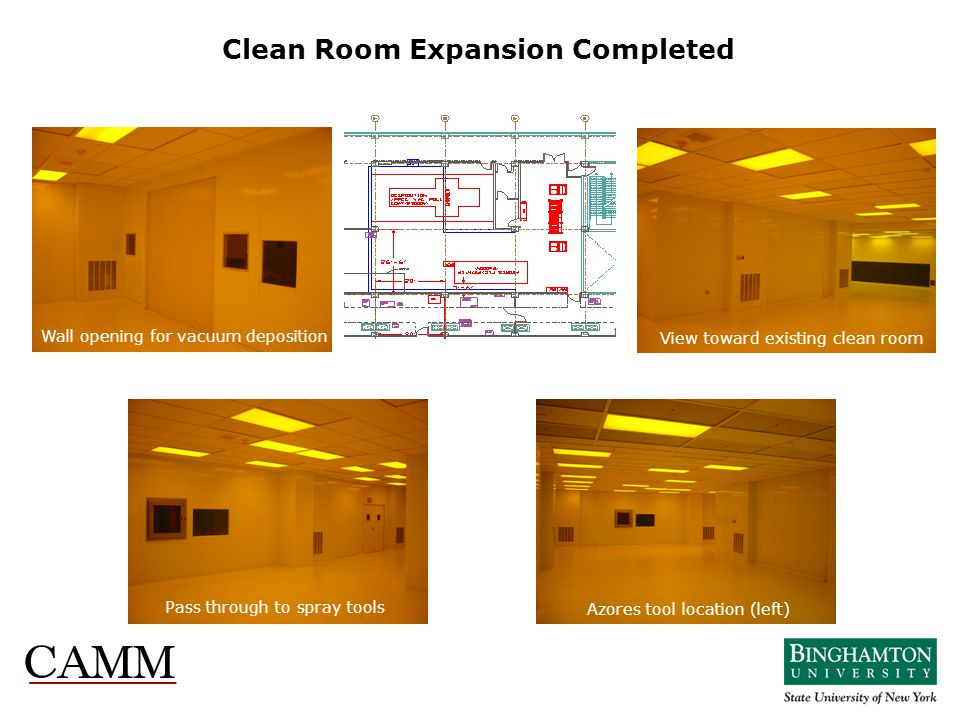 Clean Room Expansion Completed Pass through to spray tools Azores tool location (left) Wall opening for vacuum deposition View toward existing clean r