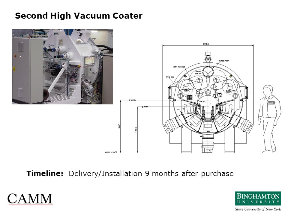 Second High Vacuum Coater Timeline: Delivery/Installation 9 months after purchase