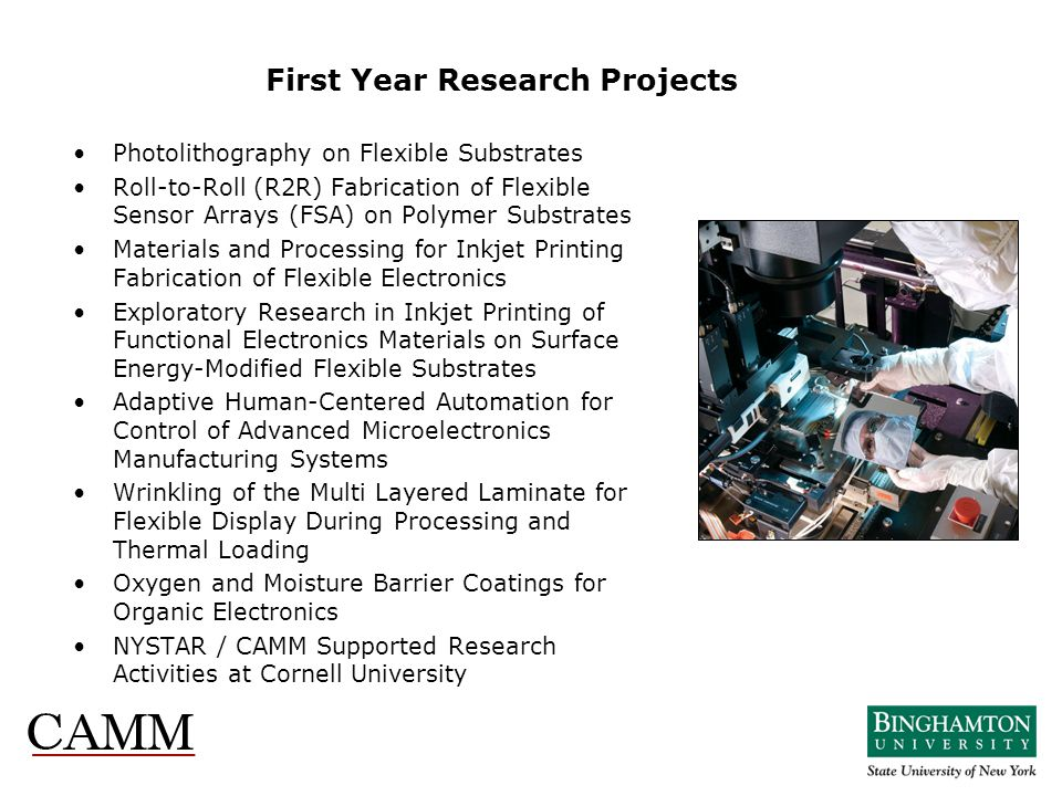 First Year Research Projects Photolithography on Flexible Substrates Roll-to-Roll (R2R) Fabrication of Flexible Sensor Arrays (FSA) on Polymer Substra