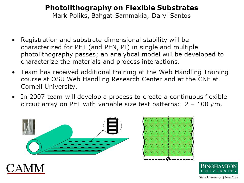 Photolithography on Flexible Substrates Mark Poliks, Bahgat Sammakia, Daryl Santos Registration and substrate dimensional stability will be characteri