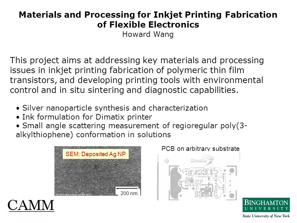 This project aims at addressing key materials and processing issues in inkjet printing fabrication of polymeric thin film transistors, and developing