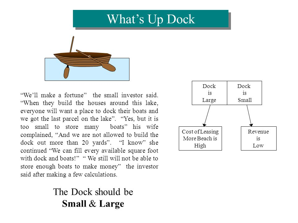The Dock should be Small & Large Well make a fortune the small investor said.