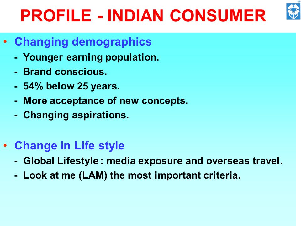 PROFILE - INDIAN CONSUMER Changing demographics - Younger earning population.