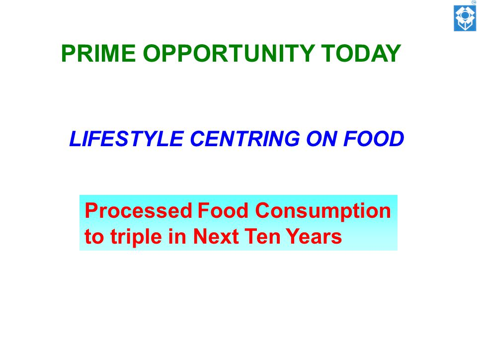 PRIME OPPORTUNITY TODAY LIFESTYLE CENTRING ON FOOD Processed Food Consumption to triple in Next Ten Years
