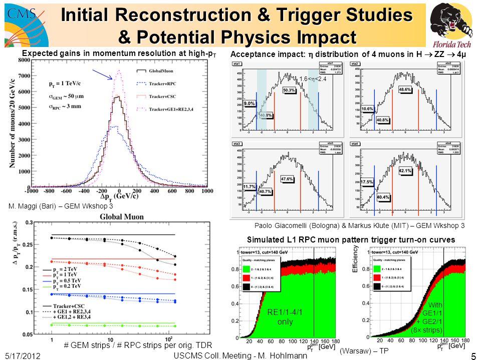 Initial Reconstruction & Trigger Studies & Potential Physics Impact 5/17/2012 USCMS Coll. Meeting - M. Hohlmann 5 M. Maggi (Bari) – GEM Wkshop 3 # GEM