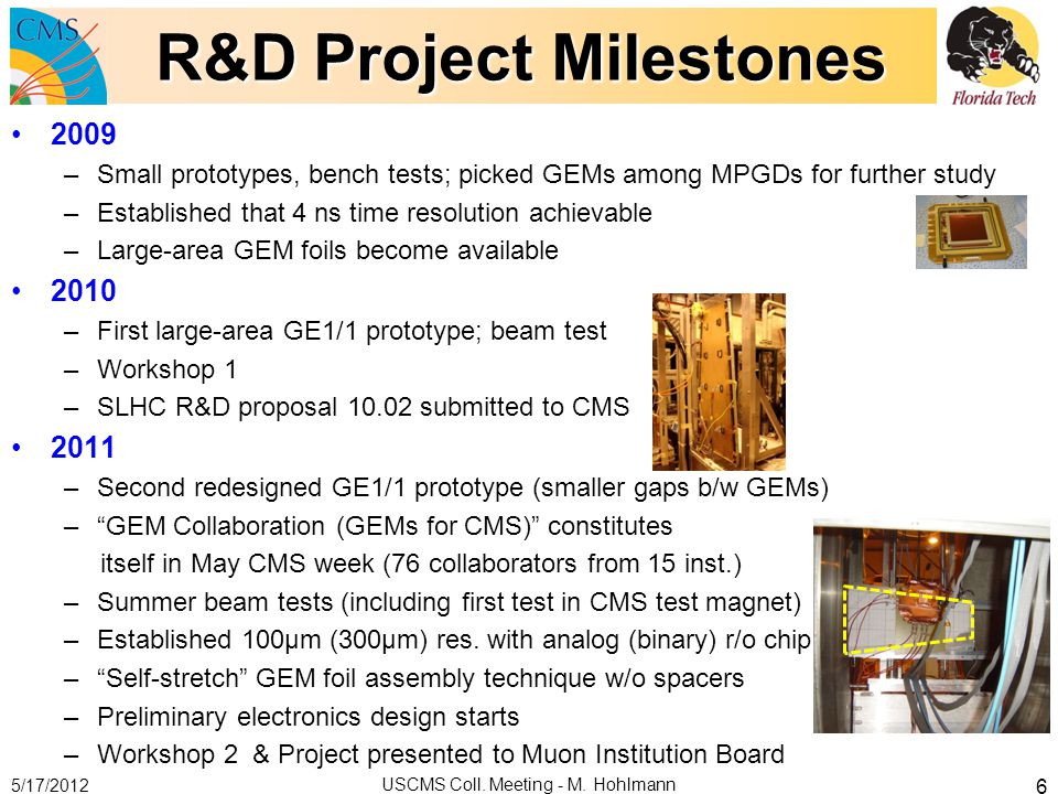 R&D Project Milestones 2009 –Small prototypes, bench tests; picked GEMs among MPGDs for further study –Established that 4 ns time resolution achievabl