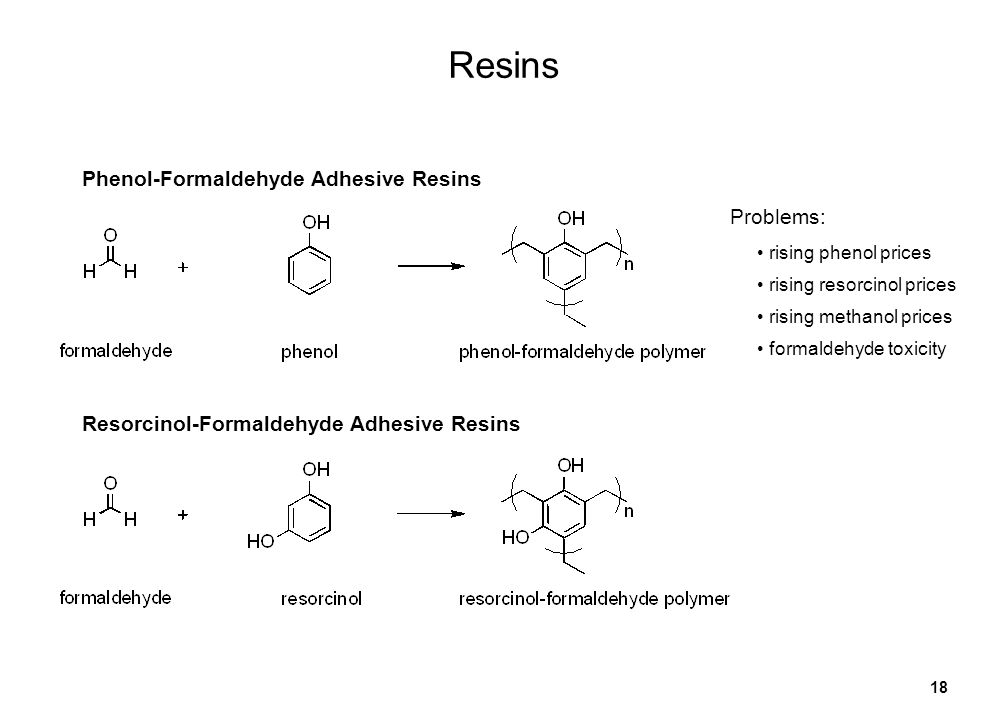 18 Resins Phenol-Formaldehyde Adhesive Resins Resorcinol-Formaldehyde Adhesive Resins Problems: formaldehyde toxicity rising phenol prices rising resorcinol prices rising methanol prices