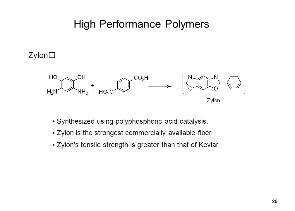 25 Zylon Synthesized using polyphosphoric acid catalysis. Zylon is the strongest commercially available fiber. Zylons tensile strength is greater than