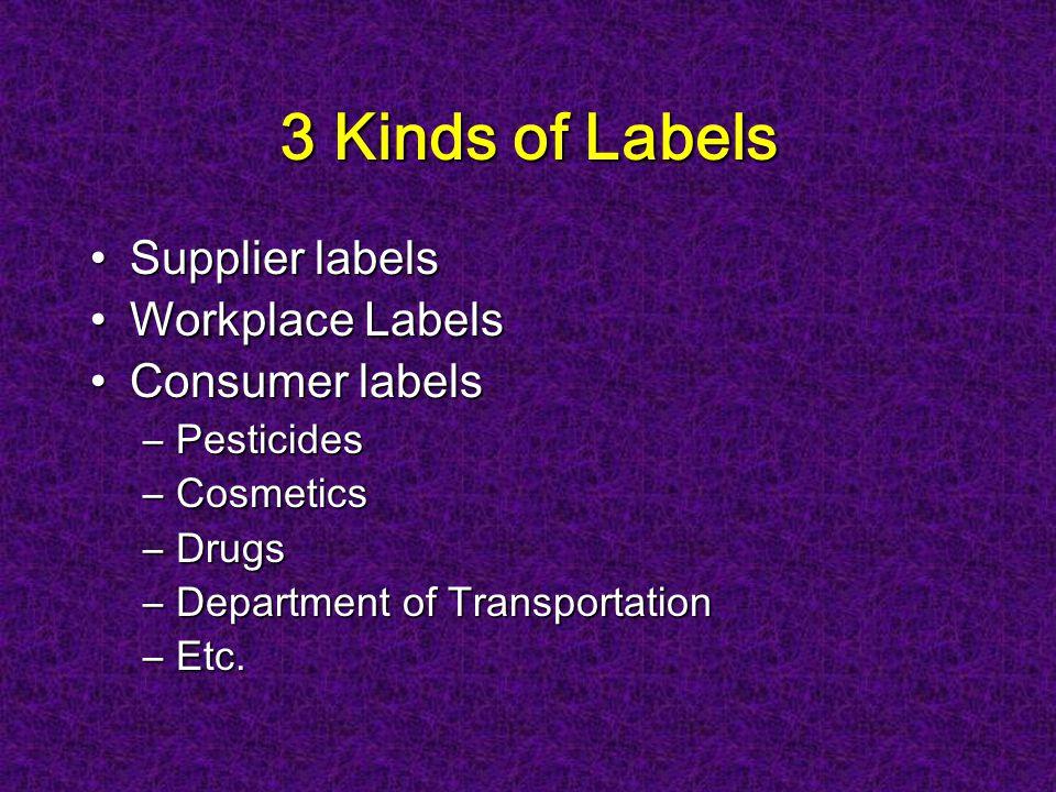 3 Kinds of Labels Supplier labelsSupplier labels Workplace LabelsWorkplace Labels Consumer labelsConsumer labels –Pesticides –Cosmetics –Drugs –Department of Transportation –Etc.