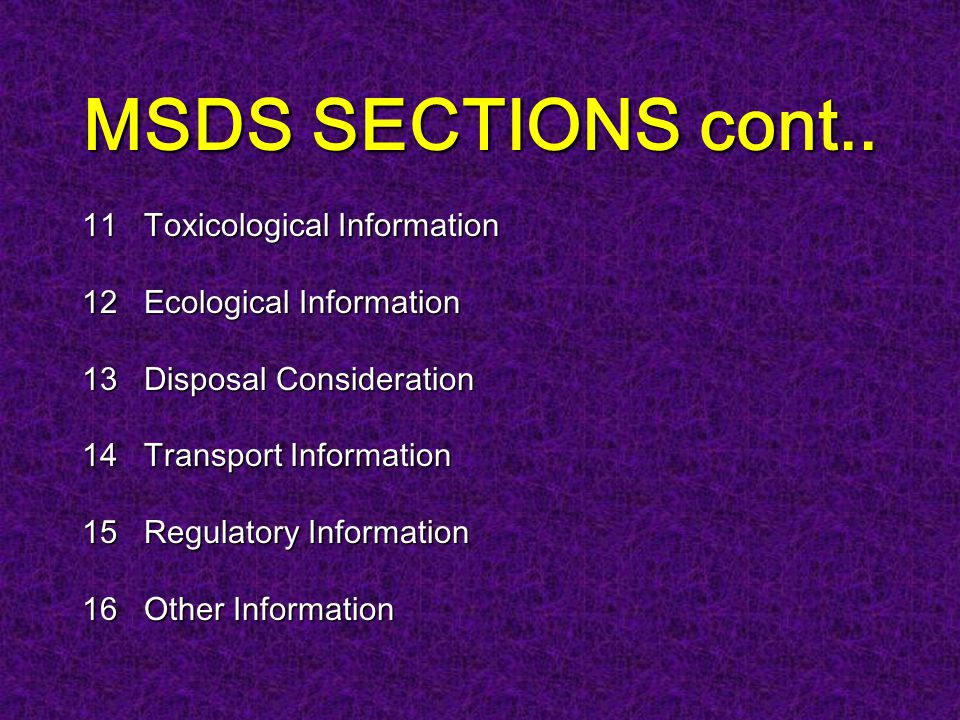 MSDS SECTIONS cont..