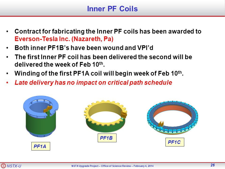 NSTX-U NSTX Upgrade Project – Office of Science Review – February 4, Inner PF Coils Contract for fabricating the Inner PF coils has been awarded to Everson-Tesla Inc.