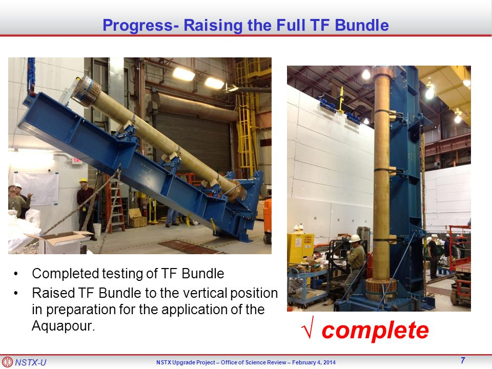 NSTX-U NSTX Upgrade Project – Office of Science Review – February 4, 2014 28 Miscellaneous Procurements TF flex buss has been completed by Zenox Corp.