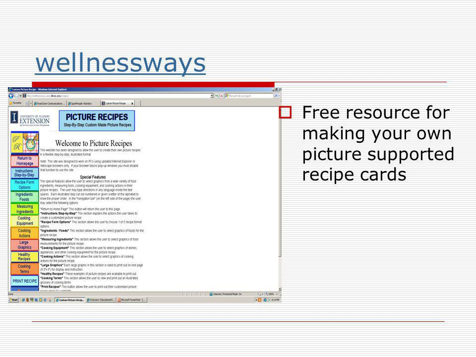 wellnessways Free resource for making your own picture supported recipe cards