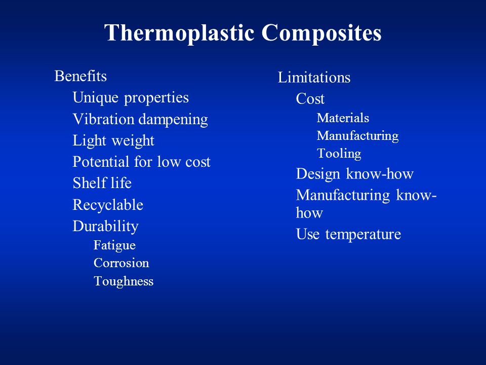 Problems Connected With Thermoplastic RTM Reaction can be stopped or made incomplete by –Moisture –Chemicals in fiber sizing Most of the thermoplastic compatible sizings are not developed for such type of processes Availability of compatible sizings in form of fabric is very limited –Oxygen Only limited support of material manufacturers Material costs (in case of c-PBT)