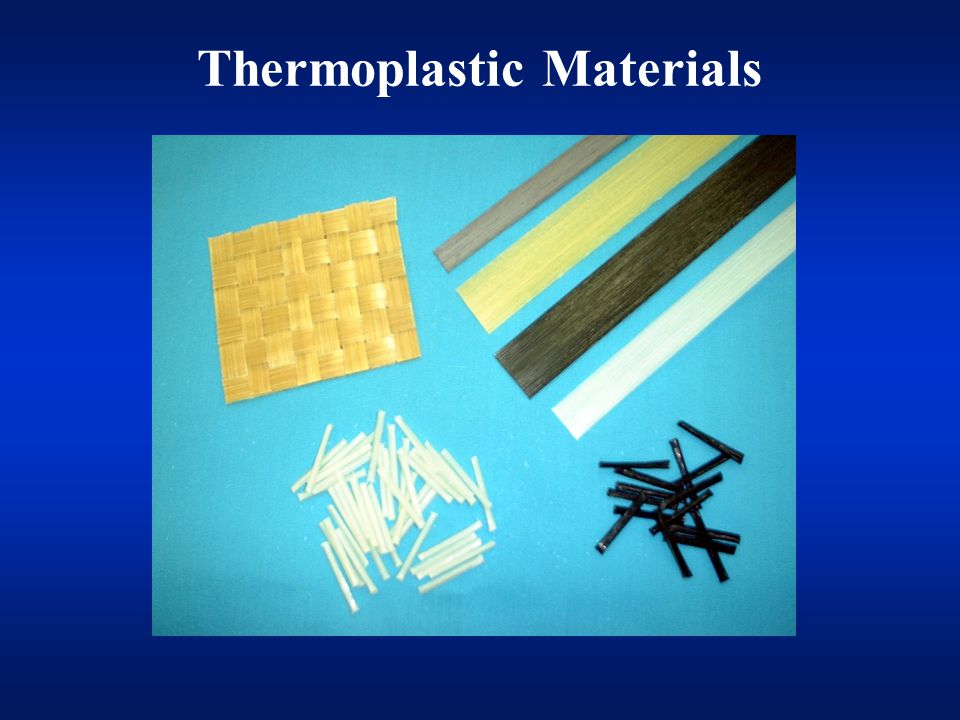 Commercial Materials GMT (Glass Mat Reinforced Thermoplastics) Pultruded Products –LFT (Long Fiber Reinforced Thermoplastics) –CFT (Continuous Fiber Reinforced Thermopastics) Wire coated products Commingled fibers Powder coated materials Film sticking Slurry processes