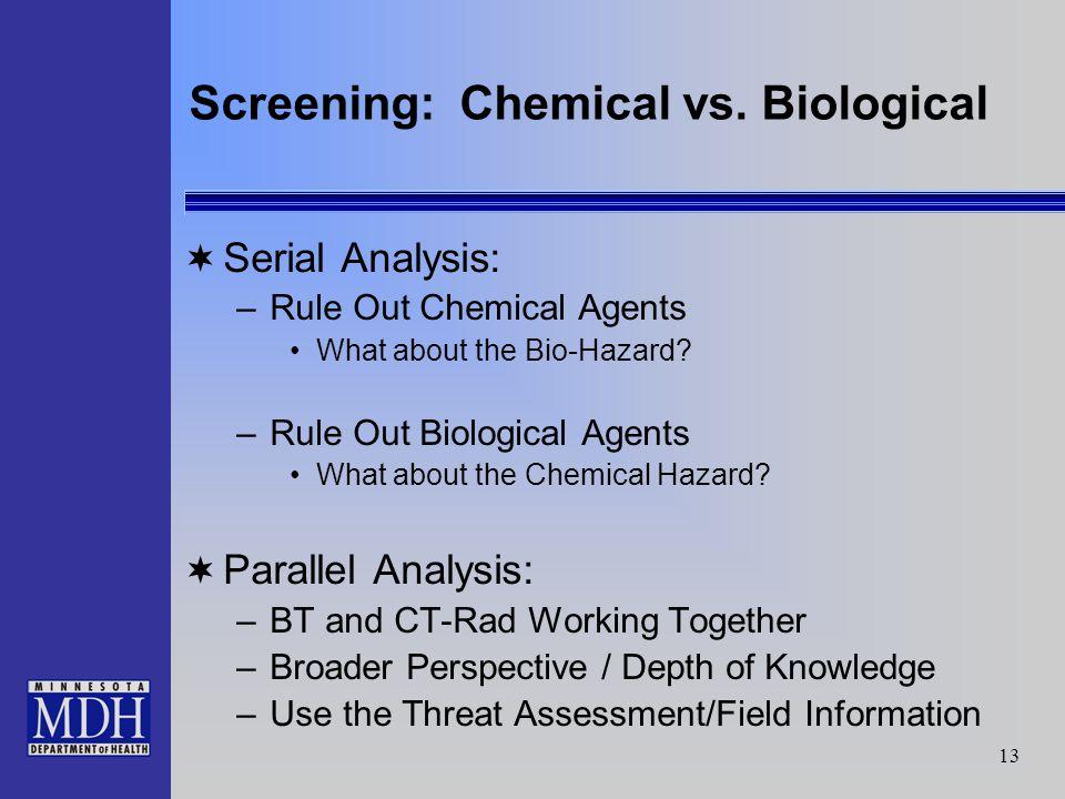 13 Screening: Chemical vs.