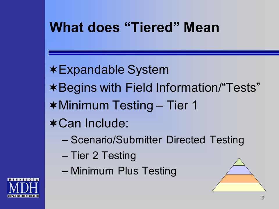 8 What does Tiered Mean Expandable System Begins with Field Information/Tests Minimum Testing – Tier 1 Can Include: –Scenario/Submitter Directed Testing –Tier 2 Testing –Minimum Plus Testing