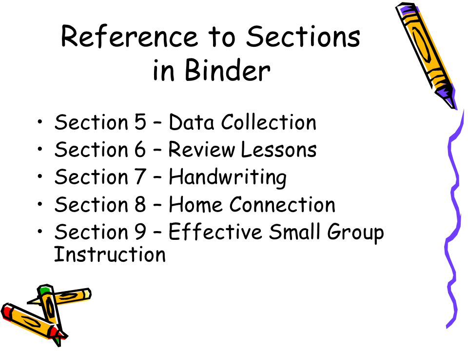 Reference to Sections in Binder Section 5 – Data Collection Section 6 – Review Lessons Section 7 – Handwriting Section 8 – Home Connection Section 9 –