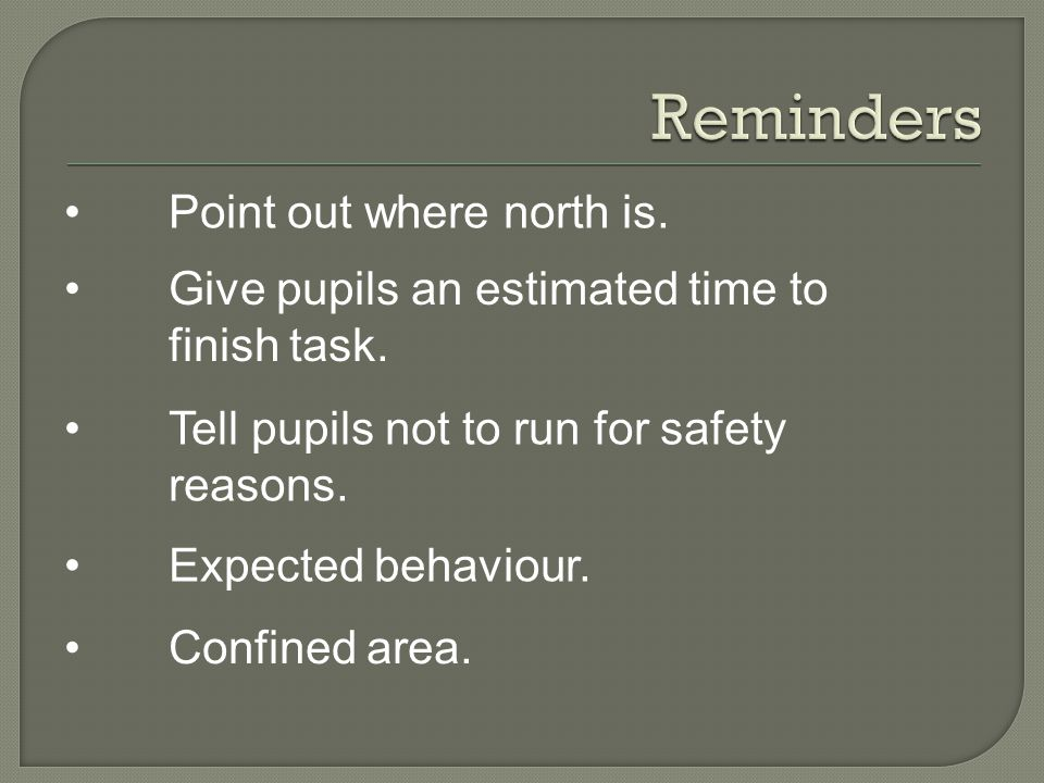 Give pupils an estimated time to finish task. Point out where north is.