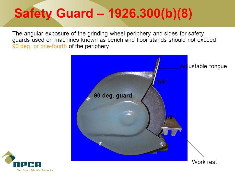 The angular exposure of the grinding wheel periphery and sides for safety guards used on machines known as bench and floor stands should not exceed 90 deg.