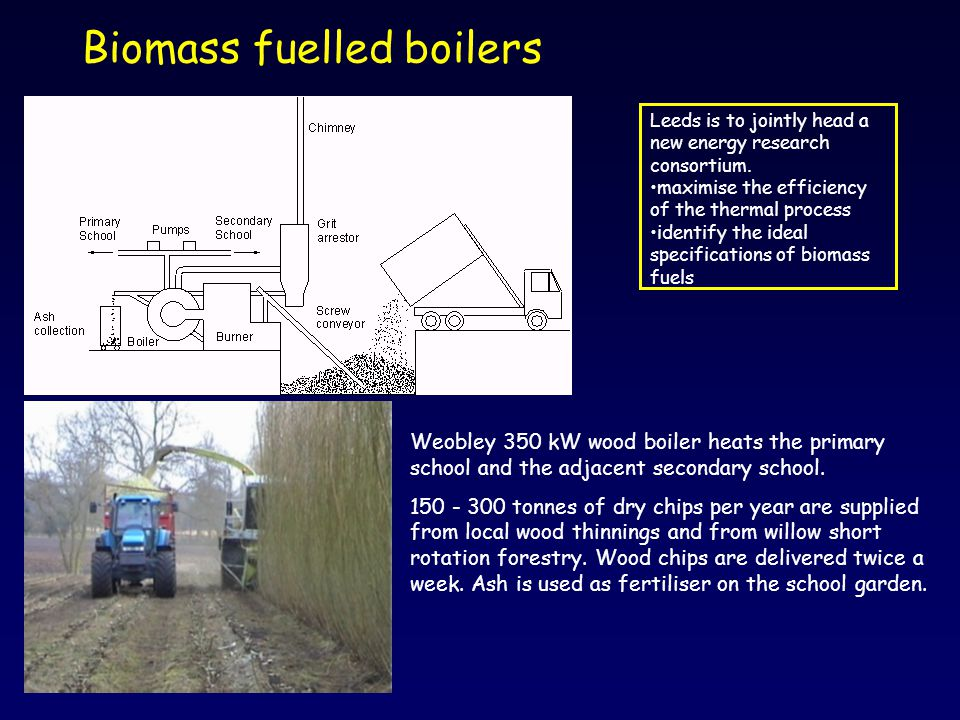 Biomass fuelled boilers Weobley 350 kW wood boiler heats the primary school and the adjacent secondary school. 150 - 300 tonnes of dry chips per year